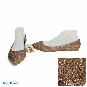 NWT Zara flats Trafaluc glitter holographic 10 41